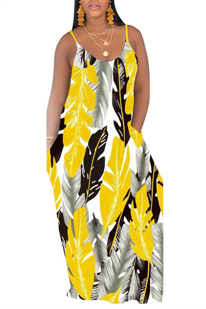 Spaghetti Straps Leaf Print Maxi Dress