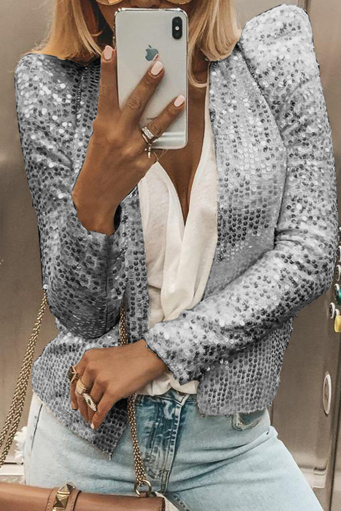 Sequins Solid Color Long Sleeve Coat