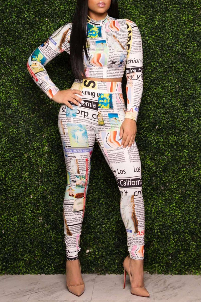 Newspaper Print Long Sleeve Two Piece Sets