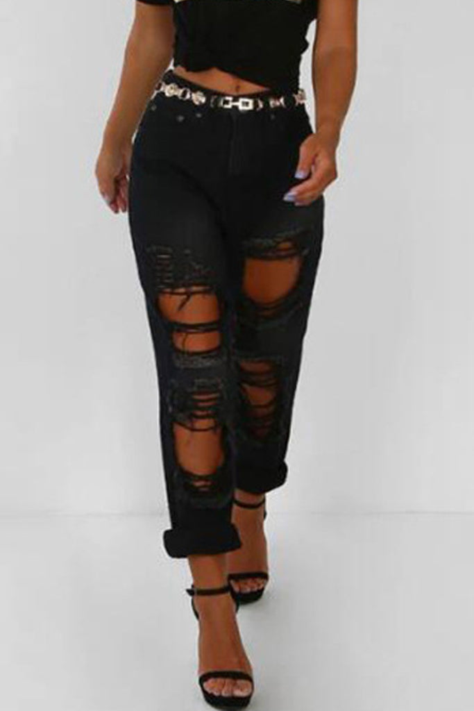 Denim Hole Distressed Straight Trousers