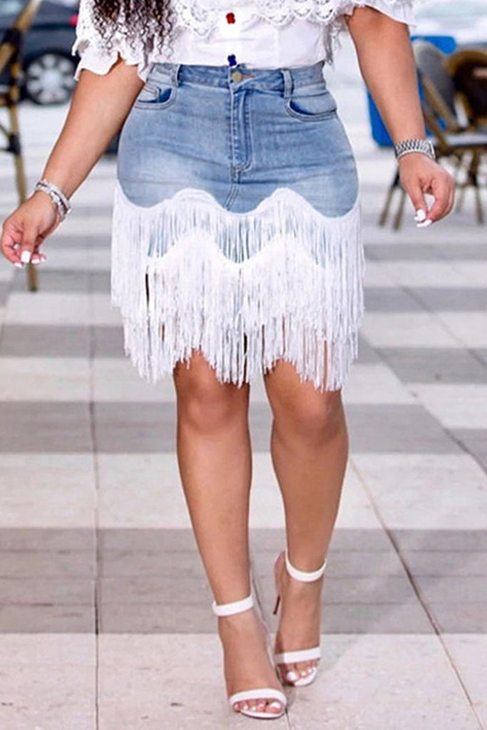 Irregular Hem Tassel High Waist Skirt