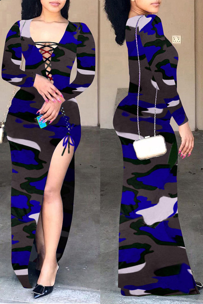 Camouflage Printed High Slit Lace-up Maxi Dress