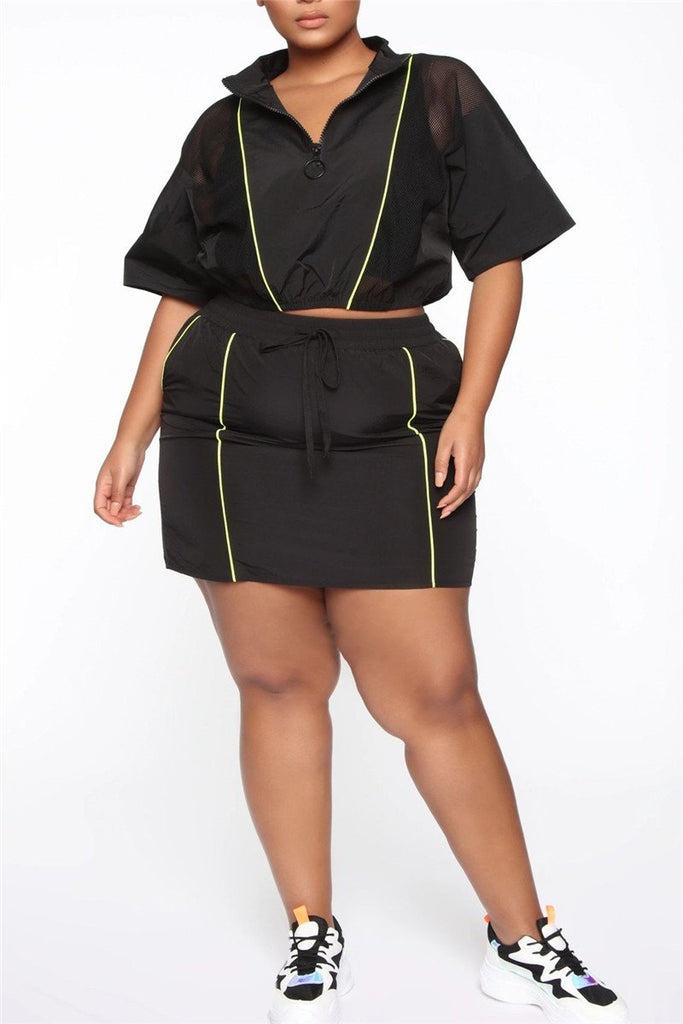 Mesh Panel Quarter Zip Drawstring Two Piece Dress