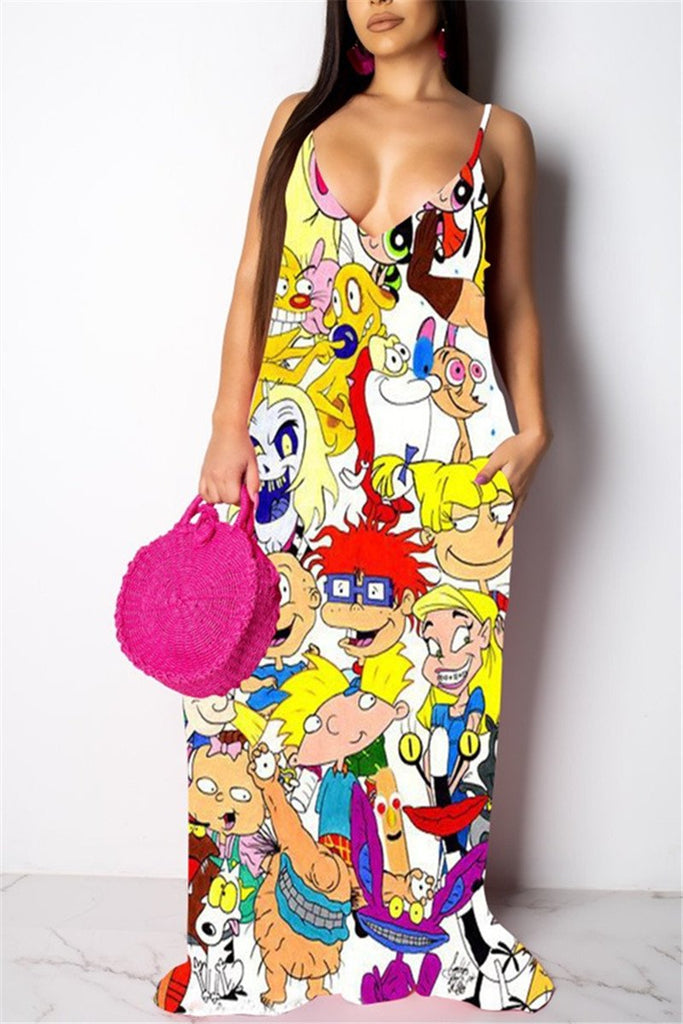Spaghetti Straps Cartoon Print Maxi Dress