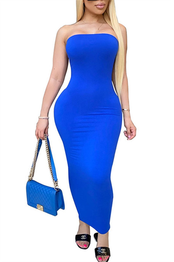 Solid Color Strapless Maxi Dress