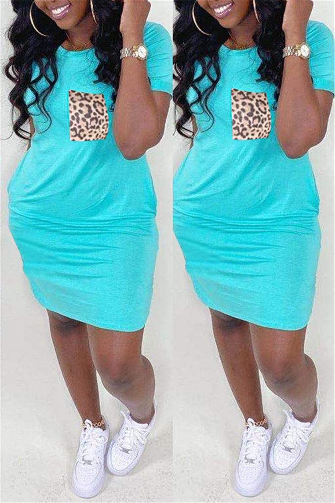 Short Sleeve Leopard Pocket Mini Dress