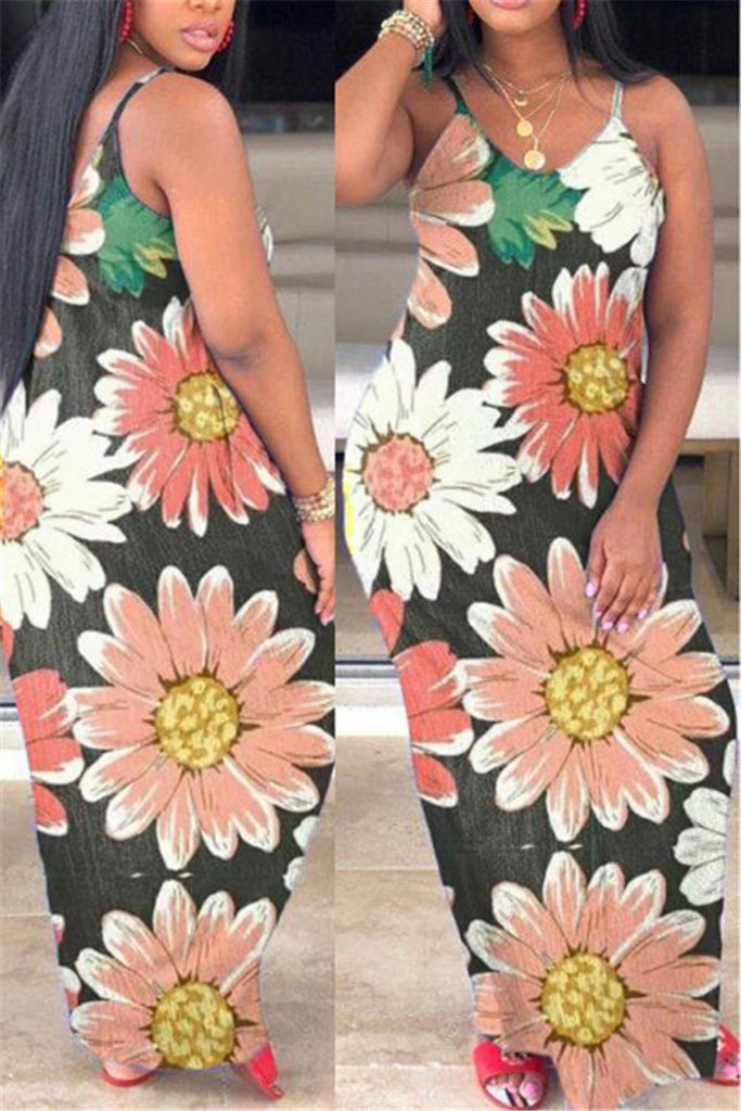 Spaghetti Straps Flower Print Maxi Dress