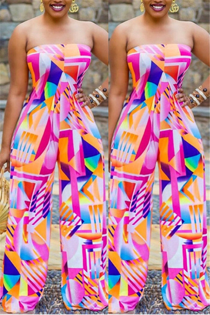 Printed Strapless Wide Leg Jumpsuit