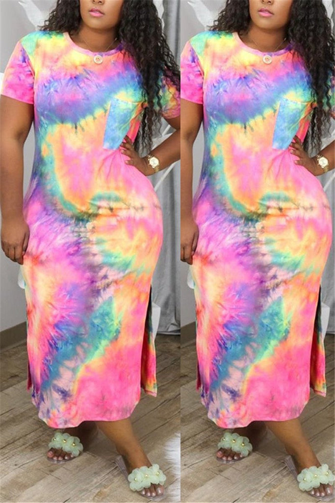 Plus Size Tie Dye Slit Maxi Dress