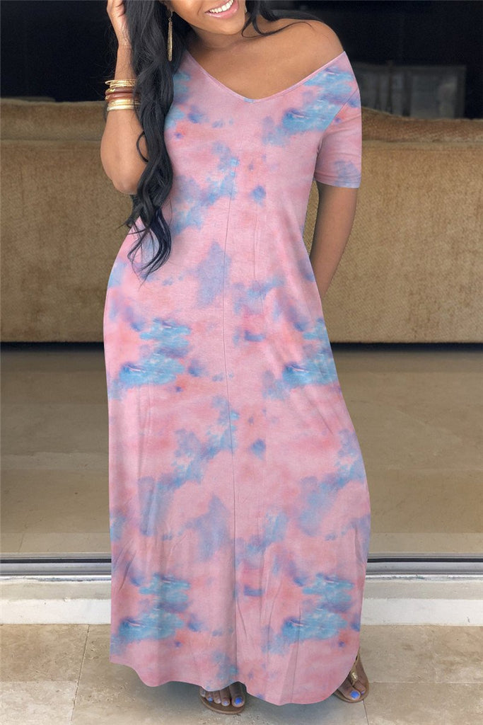 Plus Size Tie Dye Pocket Maxi Dress