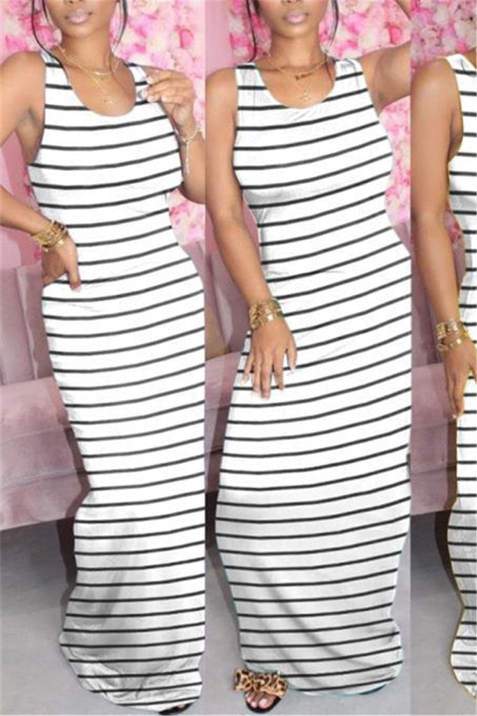 Stripe Print Sleeveless Maxi Dress