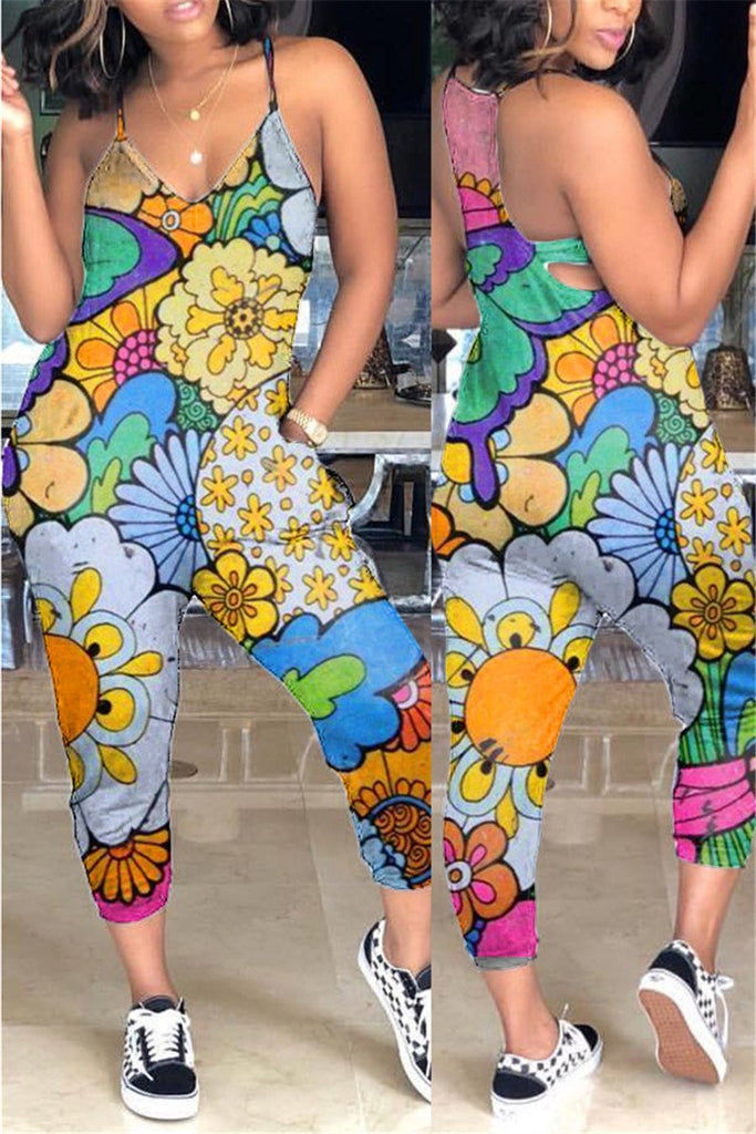 Spaghetti Straps Printed Pocket Jumpsuit
