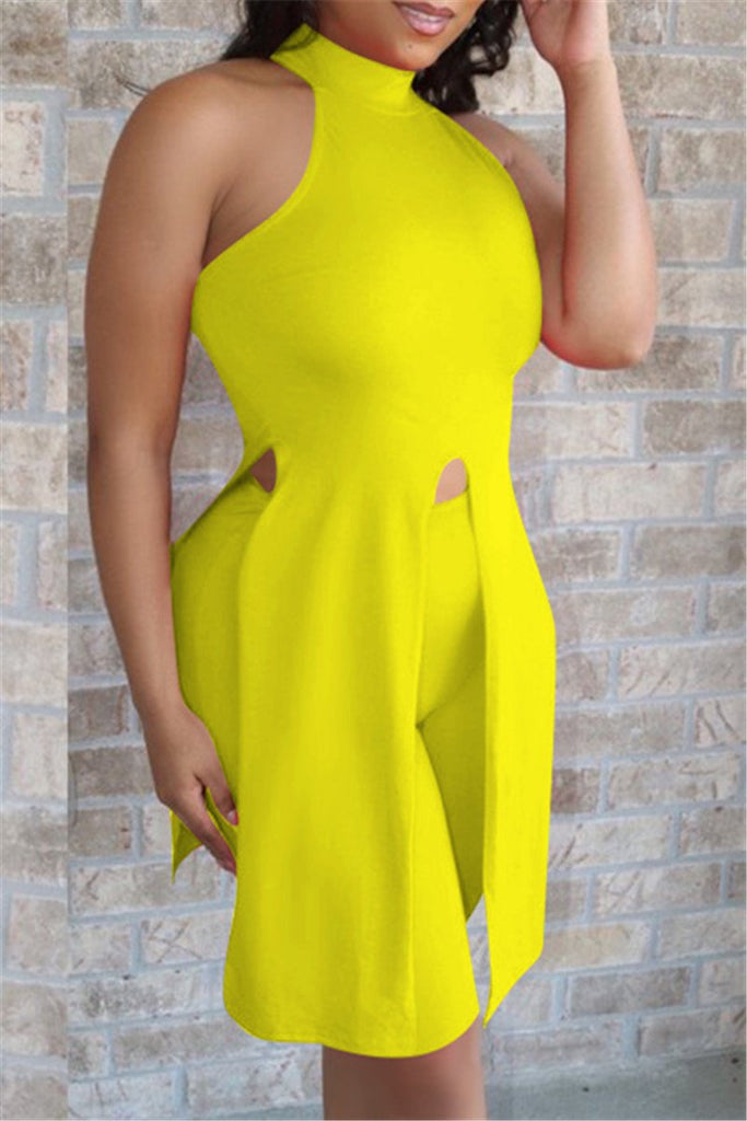 Sleeveless Solid Color Tie Up Slit Two Piece Sets