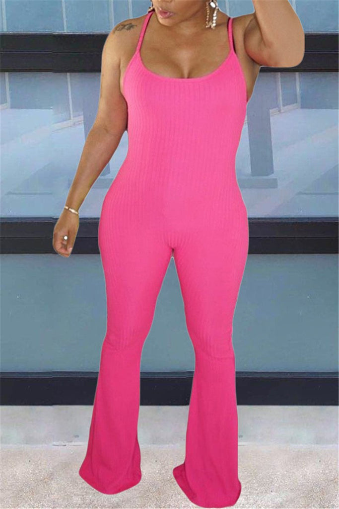 Spaghetti Straps Solid Color Flared Jumpsuit