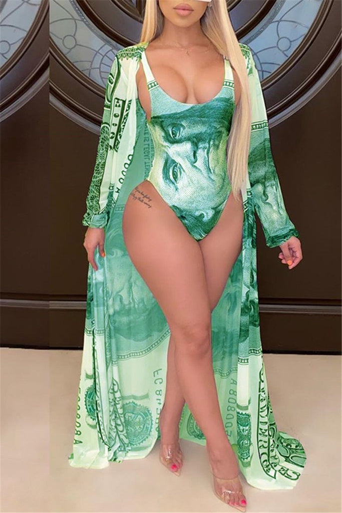 Dollar Print Padless Swimwear & Cover Up