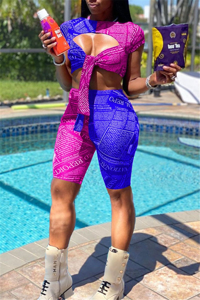 Tie Up Hollow Out Letter Print Two Piece Sets