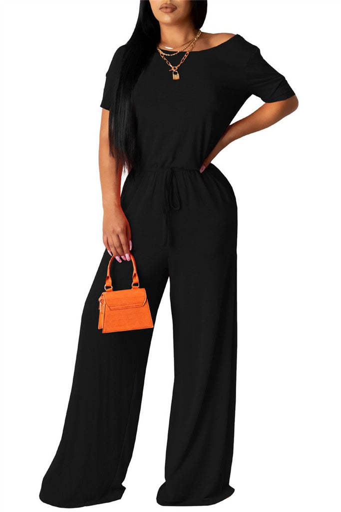 Solid Color Skew Neck Drawstring Jumpsuit
