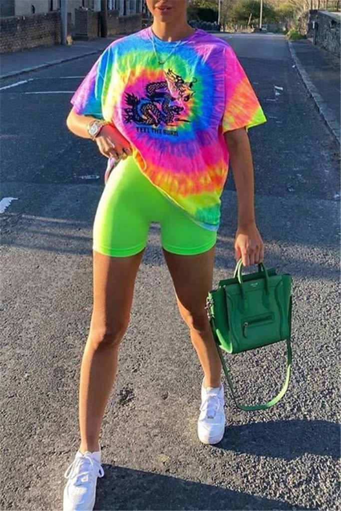 Tie Dye Print Short Sleeve Two Piece Sets