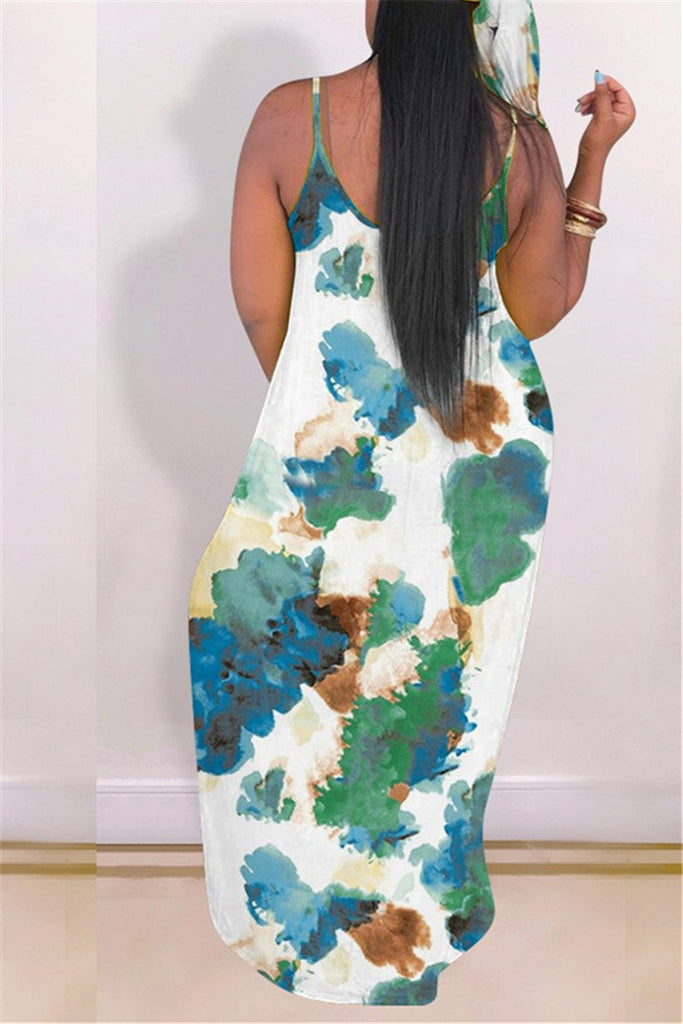 Spaghetti Straps Tie Dye Casual Maxi Dress