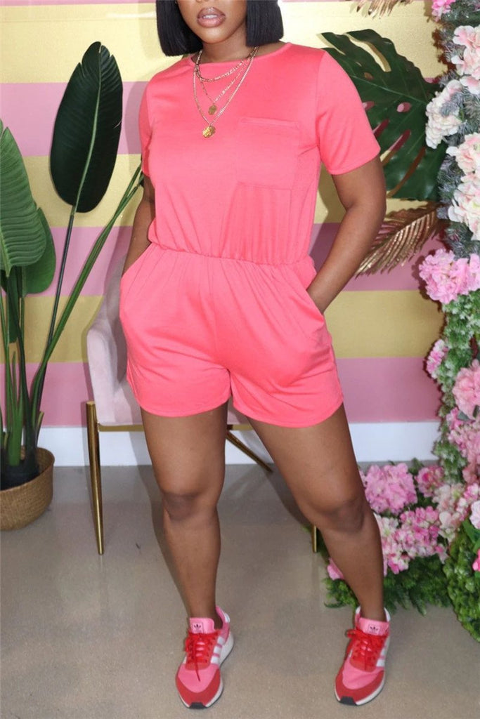 Solid Color Short Sleeve Pocket Romper
