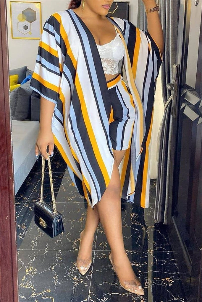 Stripe Print Open Front Casual Two Piece Sets