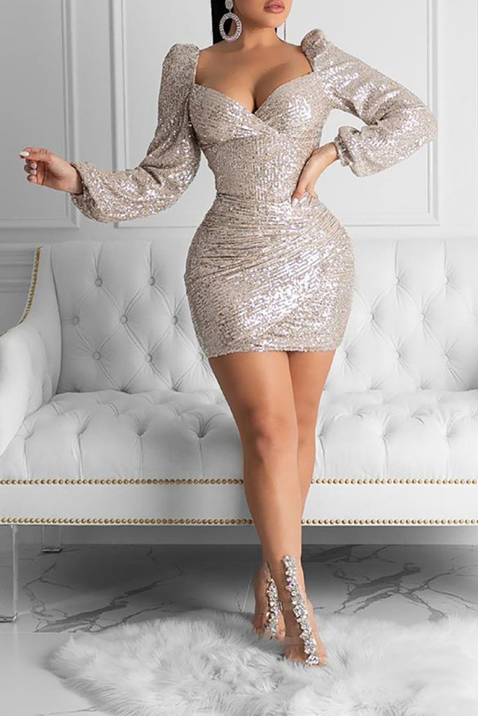 Lantern Sleeve Sequins V-Neck Mini Dress