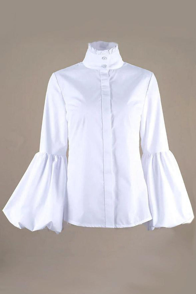 Plus Size Lantern Sleeve High Neck Shirt