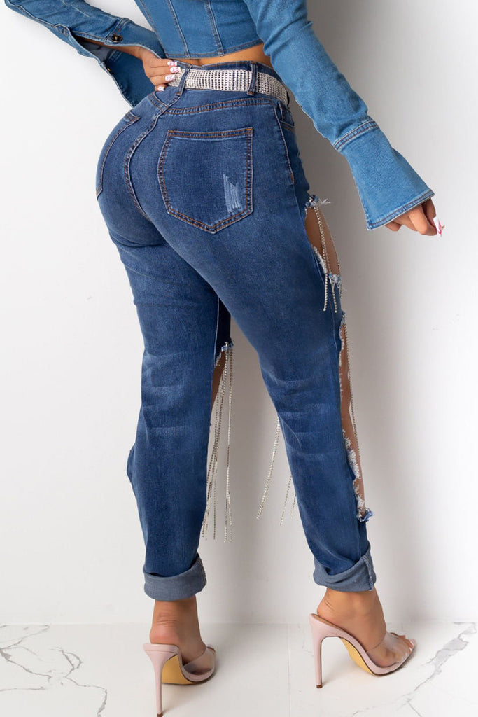 Hole Distressed Denim High Waist Jeans Without Belt