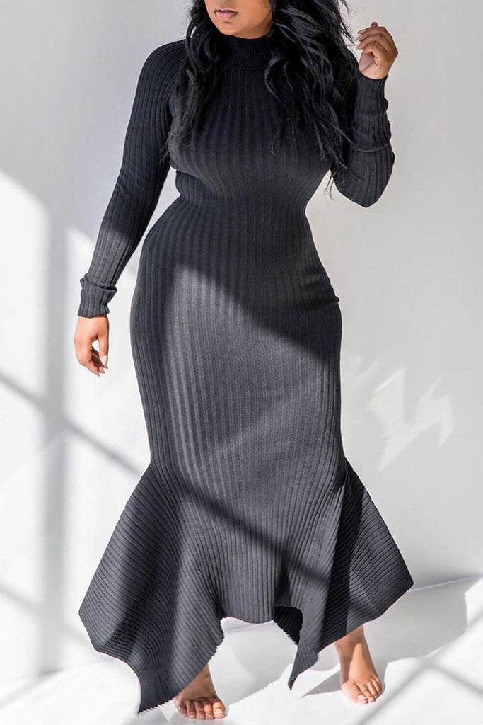 Asymmetric Hem Solid High Neck Maxi Dress