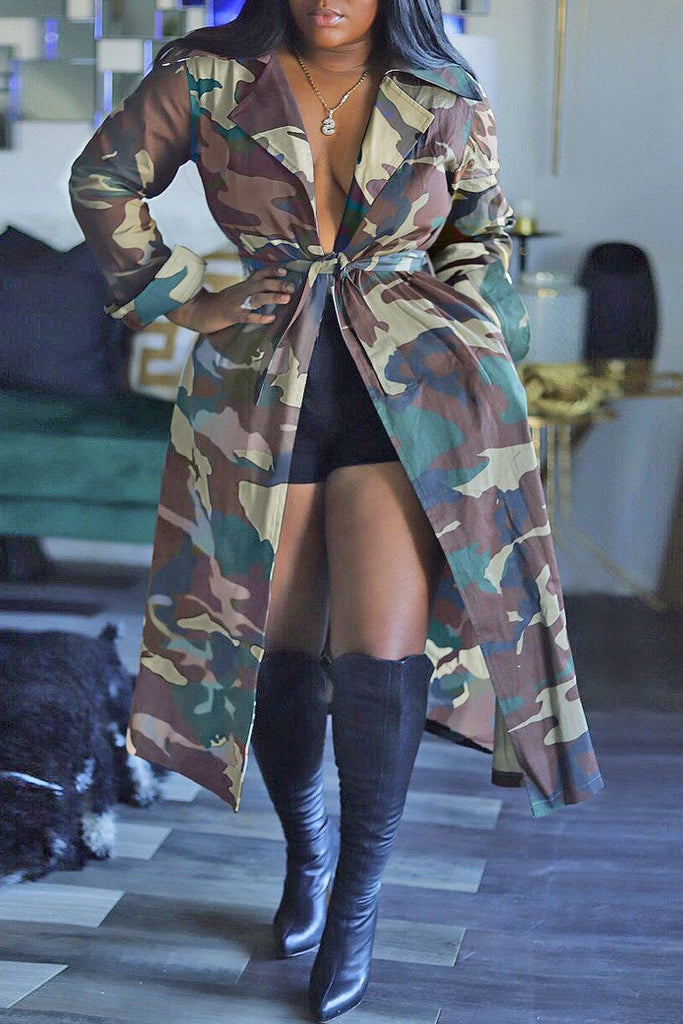 Camouflage Print Lace-up Wide Lapel Coat