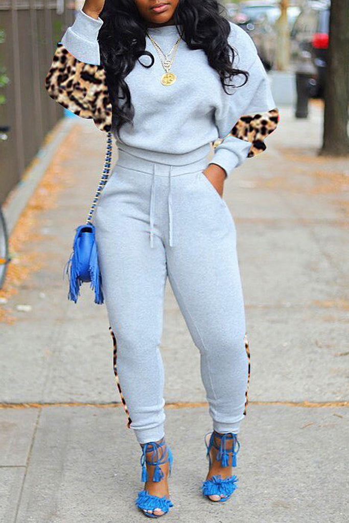 Leopard Print Drawstring Waist Top & Pants