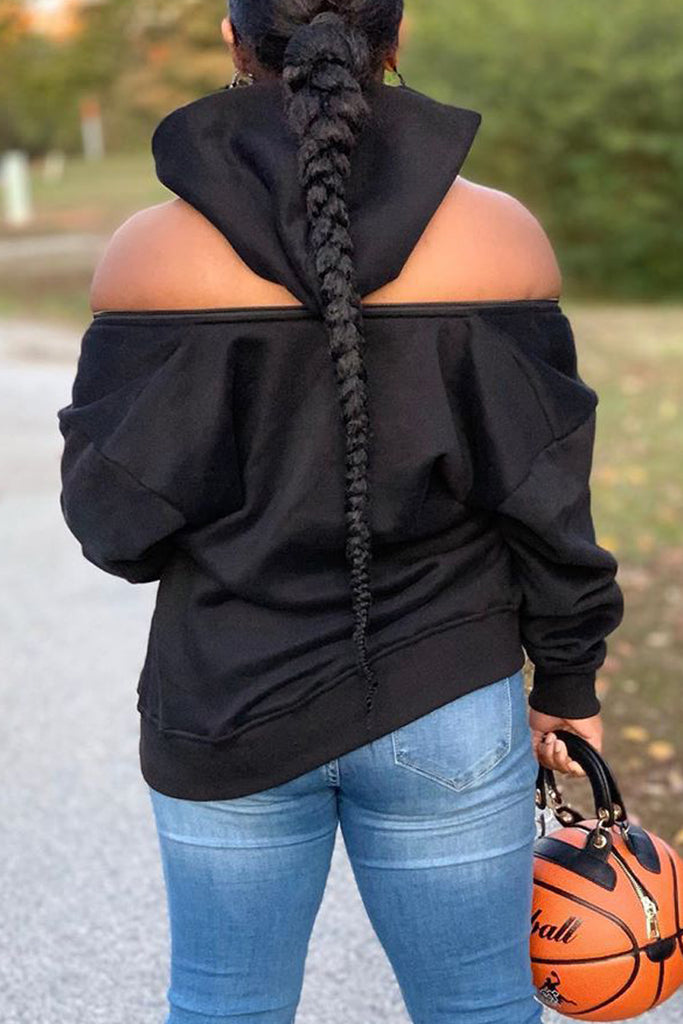 Cold Shoulder Zipper Solid Hoodie