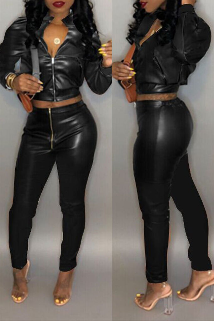 Solid Color Long Sleeve PU Leather Two Piece Sets