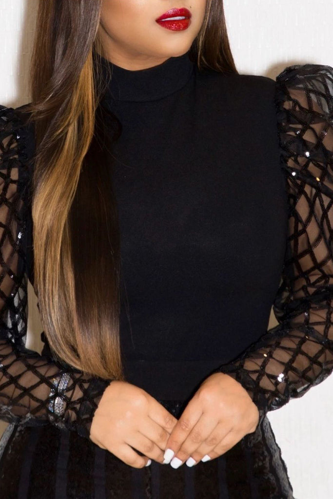 See-through Sequin Puff Sleeve Blouse