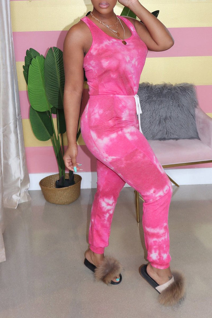Scoop Neck Tie Dye Pocket Jumpsuit