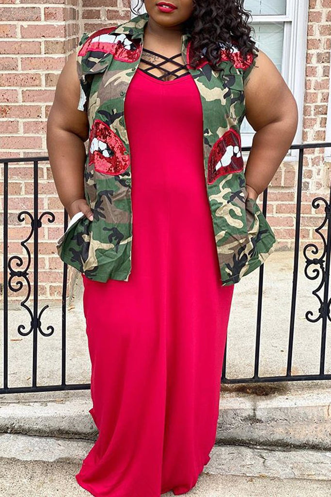 Camouflage Print Sleeveless Sequin Wind Coat