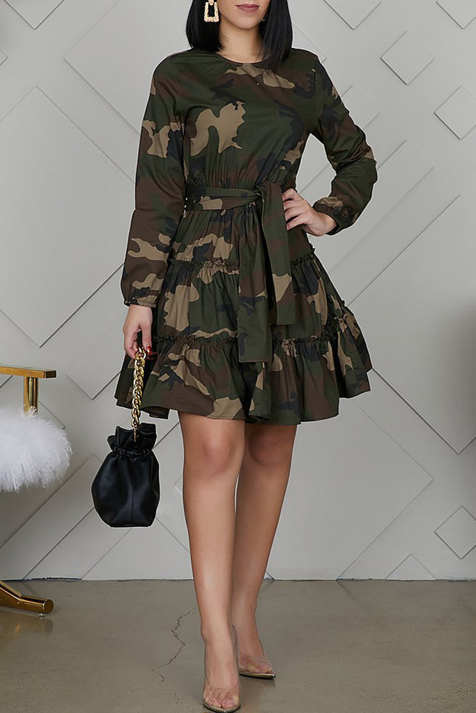 Camouflage Printed Lace-up Mini Dress