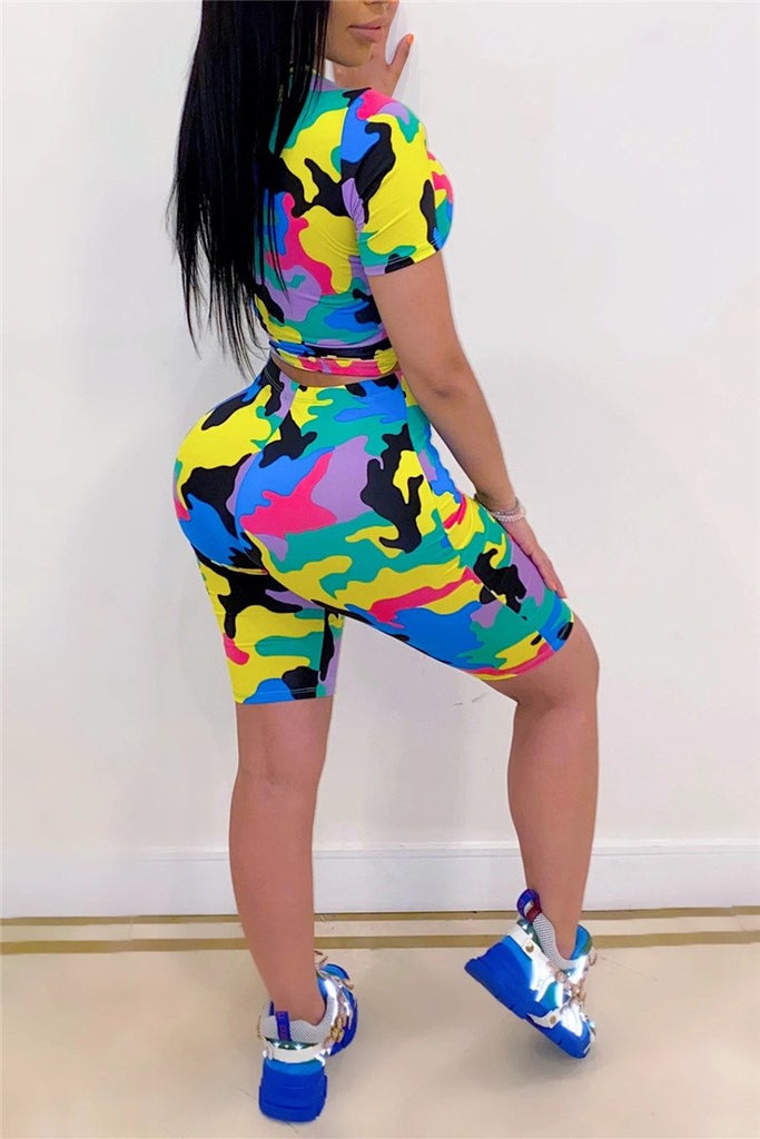 Plus Size Camouflage Short Sleeve Two Piece Sets