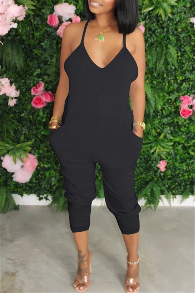 Spaghetti Straps Solid Color Pocket Jumpsuit