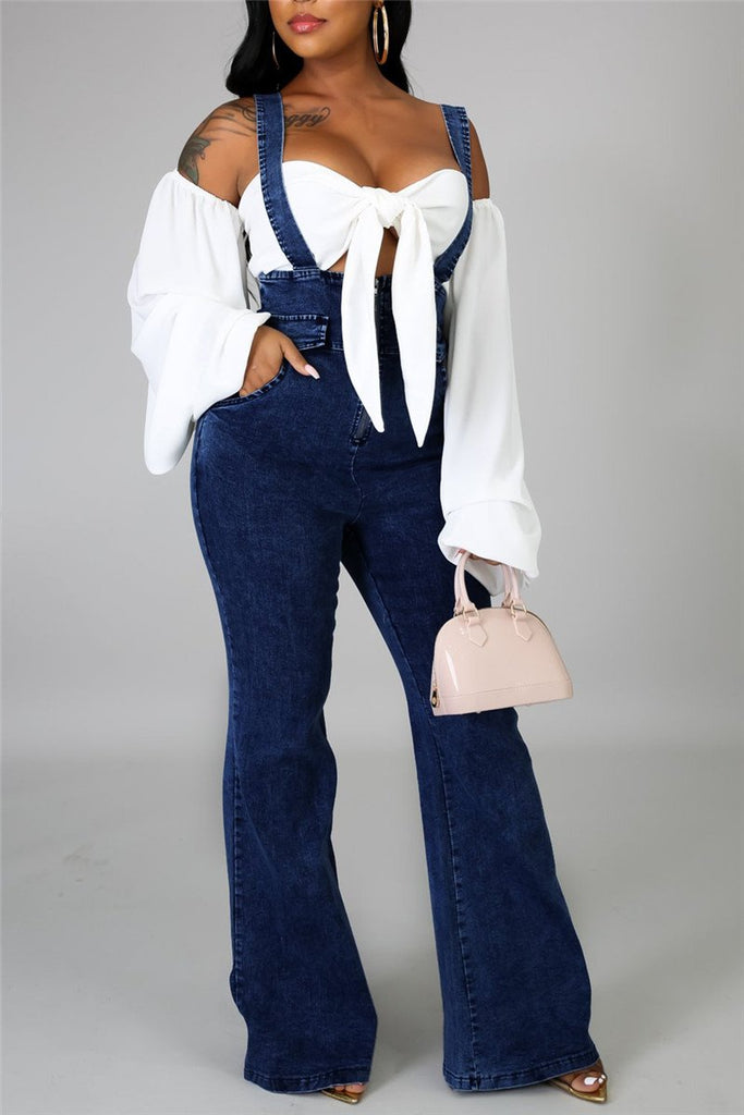 Zip Up Pocket Denim Flared Overall