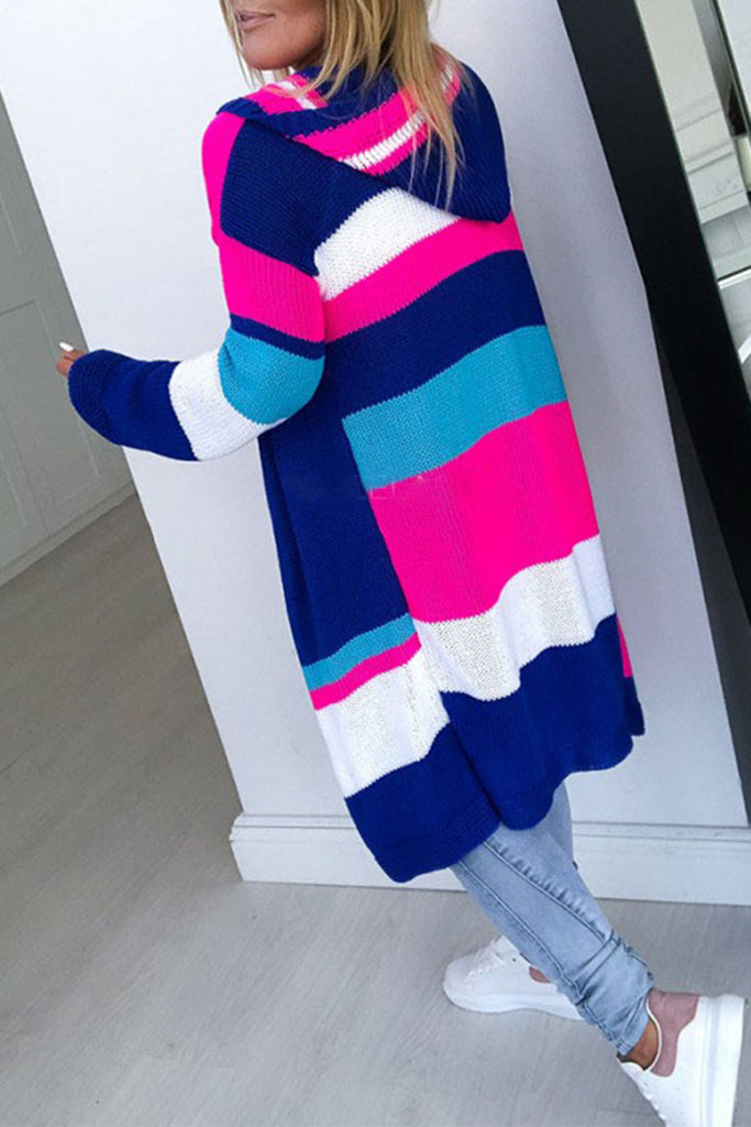 Knitted Colorful Patchwork Hooded Cardigan