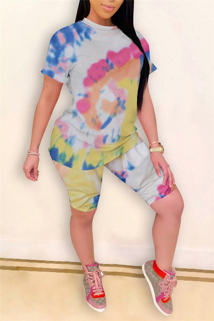 Short Sleeve Tie Dye Casual Two Piece Sets