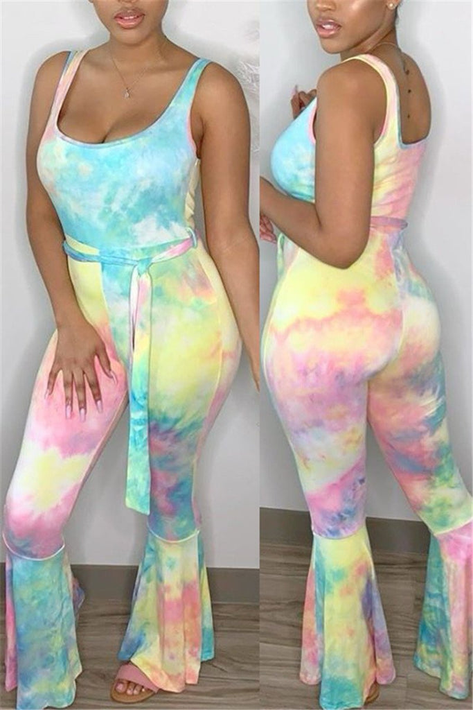 Scoop Neck Tie Dye Flared Jumpsuit