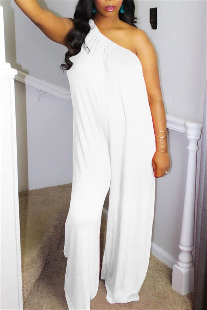 One Shoulder Solid Color Casual Jumpsuit