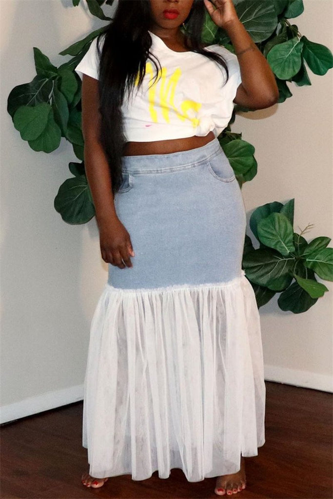 Mesh Panel High Waist Denim Skirt