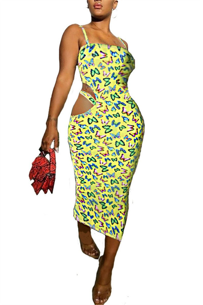 Butterfly Print Hollow Out Strappy Dress