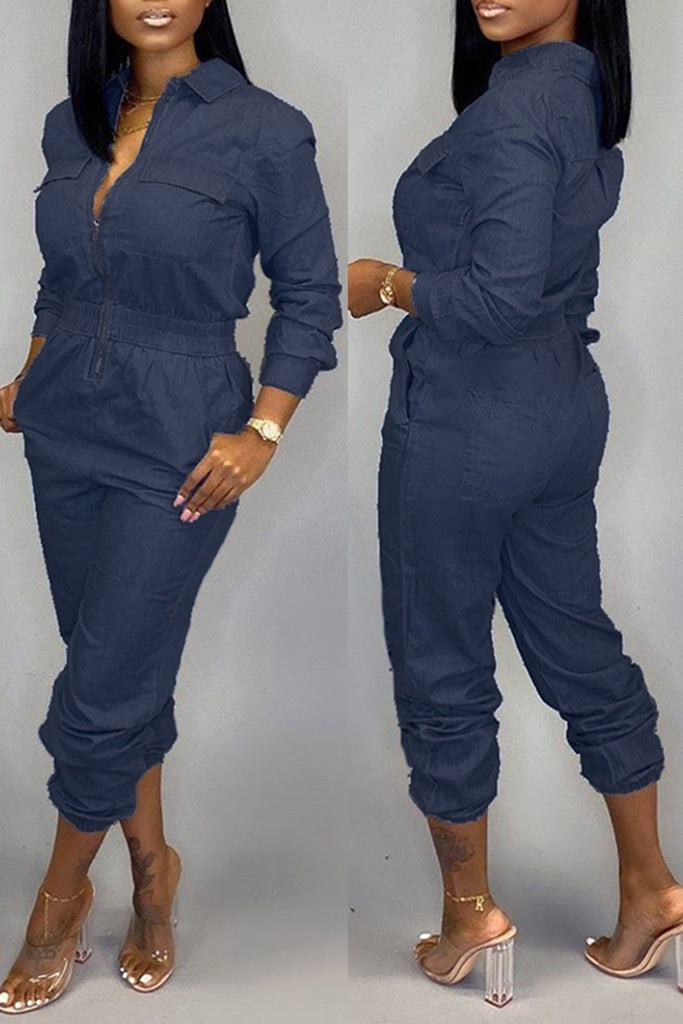 Denim Pocket Drawstring Waist Jumpsuit