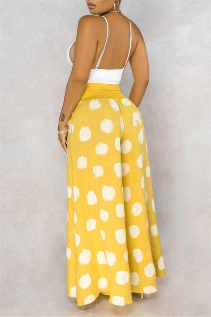 Polka Dot Wide Leg Casual Pants