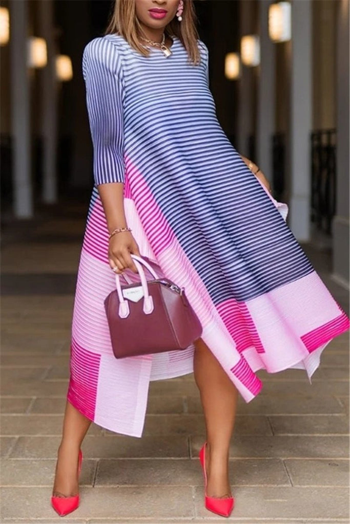 Stripe Print Patchwork Casual Dress