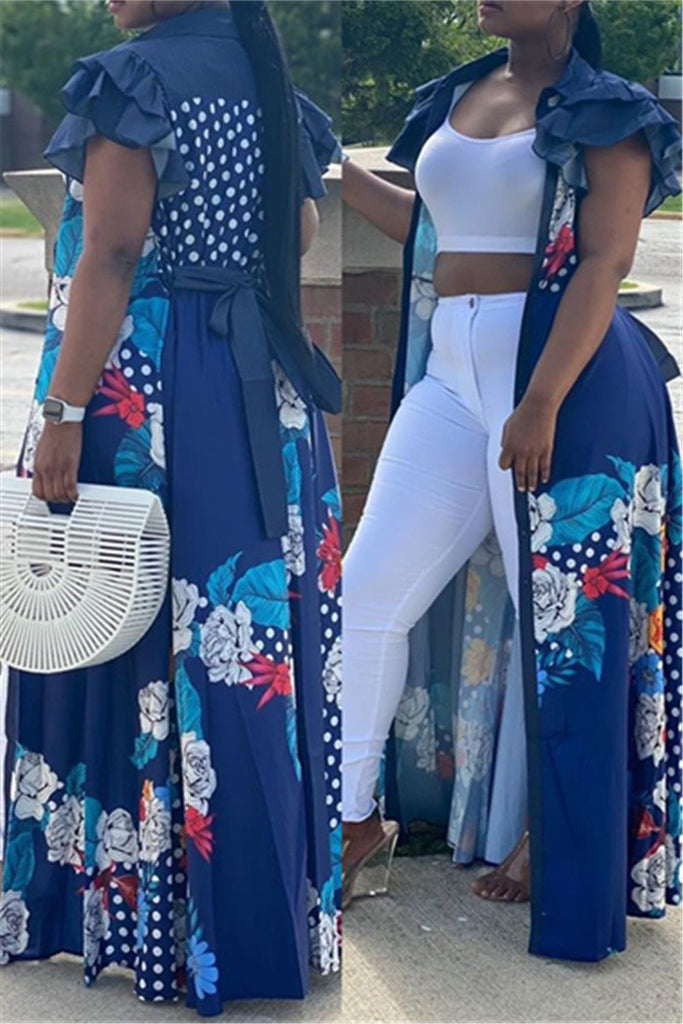 Denim Patchwork Flower Print Ruffled Maxi Dress